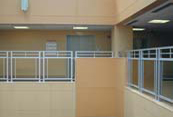 glass railing in office building