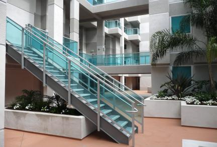 Beau Aluminum Stair Railing With Glass Panel Inserts For Lobby Stairs And Walk  Ways